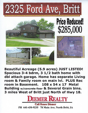 ANDERSON - 2325 Ford Ave, Britt IA - PRICE REDUCTION